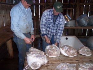 Gail's husband and brother-in-law preparing peppered hams